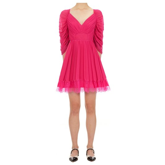 Self Portrait Fuchsia Chiffon Mini Dress
