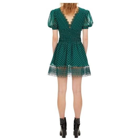 Self Portrait Dark Green Plumetis Puff Sleeve Mini Dress