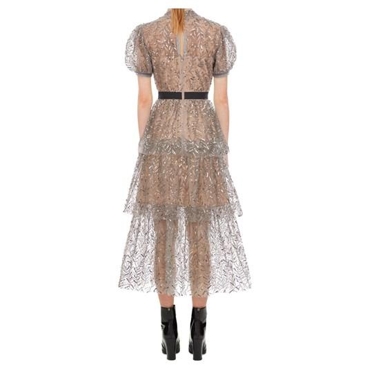 Self Portrait Leaf Sequin Tiered Midi Dress
