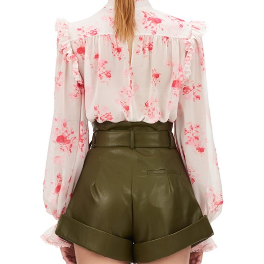 Self Portrait Floral Printed Chiffon Pin Tucked Top