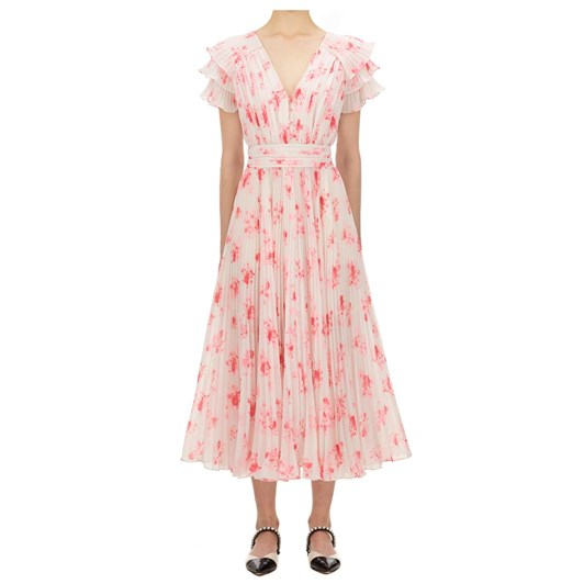 Self Portrait Pleated Floral Print Midi Dress