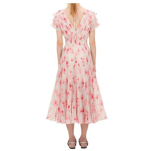 Self Portrait Pleated Floral Print Midi Dress