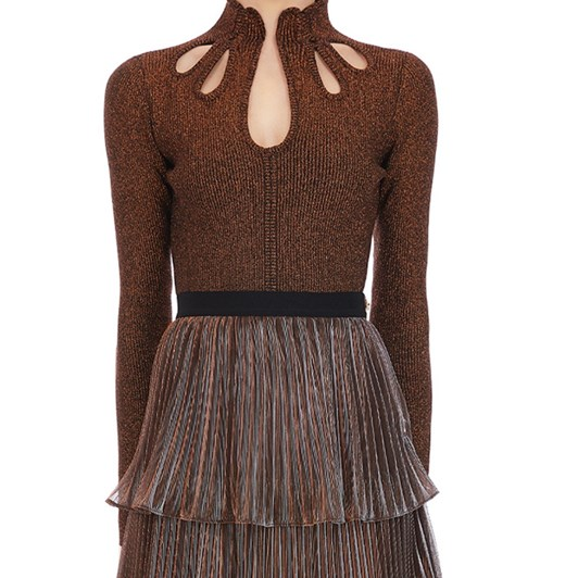 Self Portrait Rust Brown Knit Top