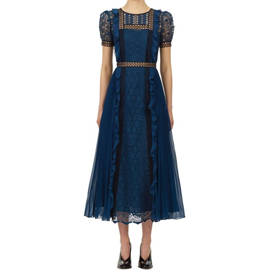 Self Portrait Petrol Lace Guipure Midi Dress