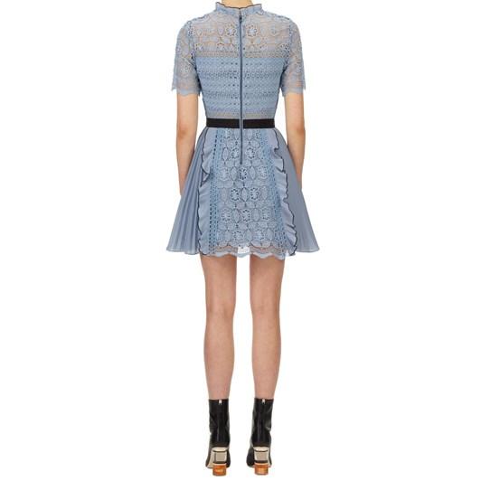 Self Portrait Blue Lace Guipure Mini Dress