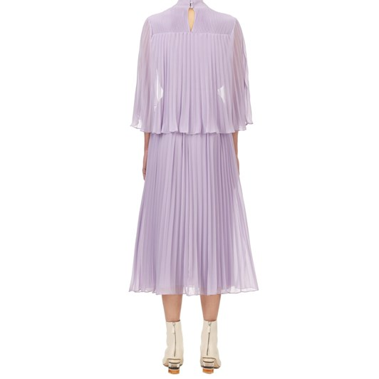 Self Portrait Lilac Chiffon Pussybow Midi Dress