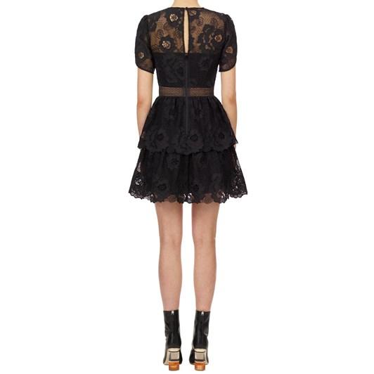 Self Portrait Black Lace Guipure Tiered Mini Dress