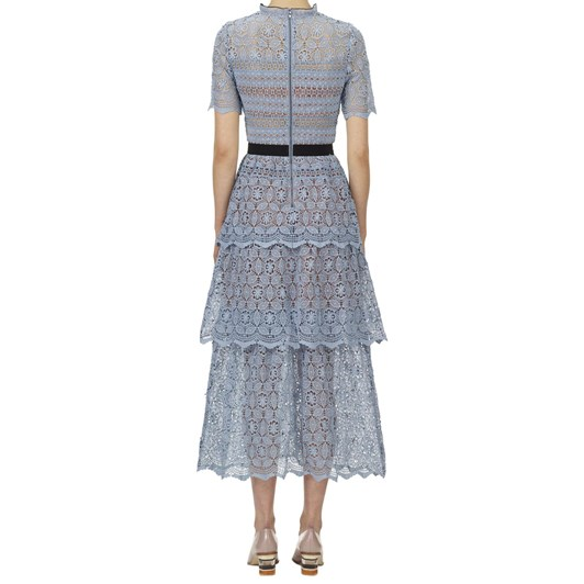 Self Portrait Steel Lace Guipure Tiered Midi Dress