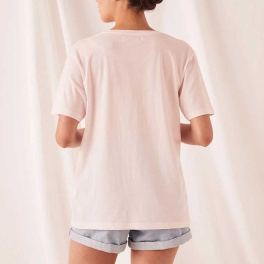 Assembly Label Logo Cotton Crew Tee - Pink Dew/White
