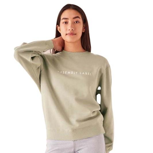 Assembly Label Logo Fleece Womens - Soft Green/White