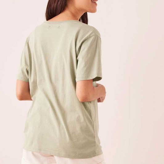 Assembly Label Logo Cotton Crew Tee - Soft Green/White