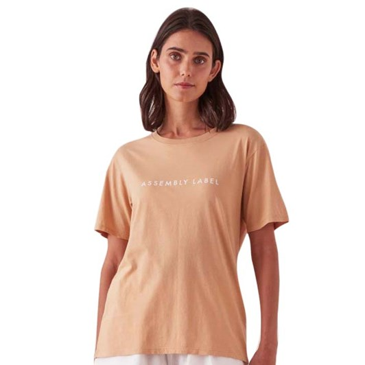 Assembly Label Logo Cotton Crew Tee - Taupe/White