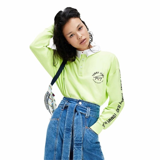 Tommy Jeans Boxy Crop Tape Rugby Polo