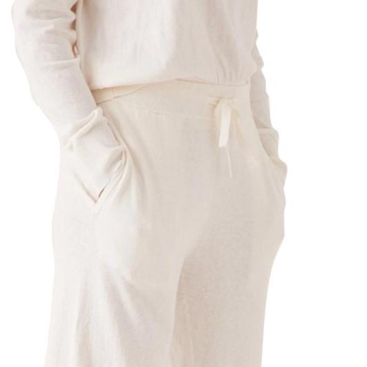Assembly Label Cotton Cashmere Lounge Wide Leg Pant Antique White