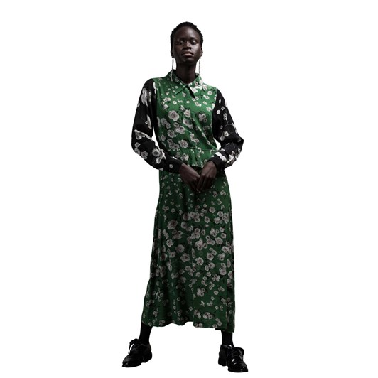 Salasai Flora In Chains Dress With Greenery Black Rose Sleeves