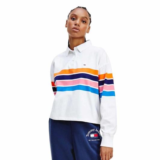 Tommy Jeans Boxy Crop Stripe Polo L/S
