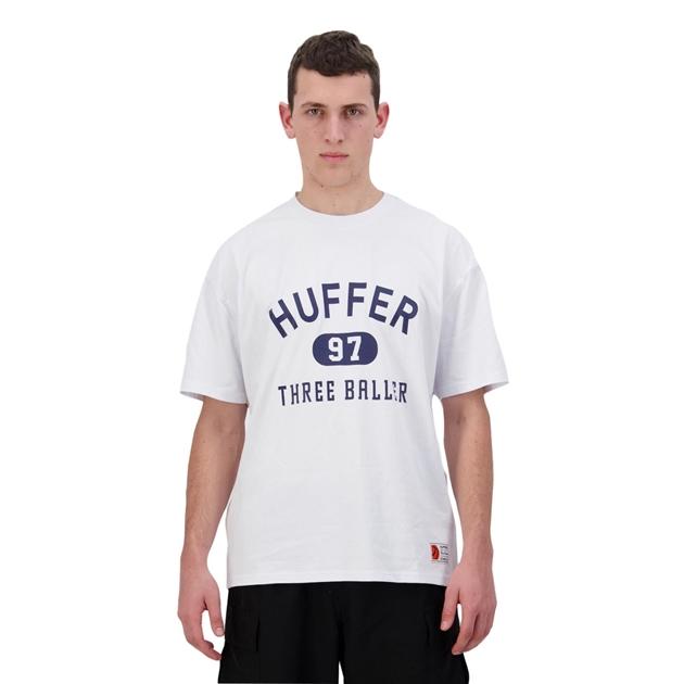 Huffer Mens Free Tee/3 Baller - white