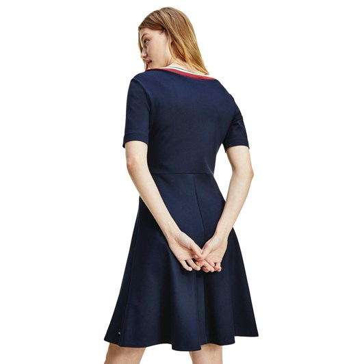 Tommy Hilfiger Pun Milano Fit & Flare Knee Dress S/S