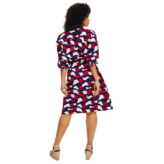 Tommy Hilfiger Viscose Flag Print Dress L/S