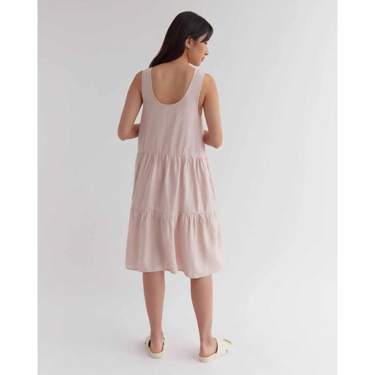 Assembly Label Tiered Linen Dress Pink Clay