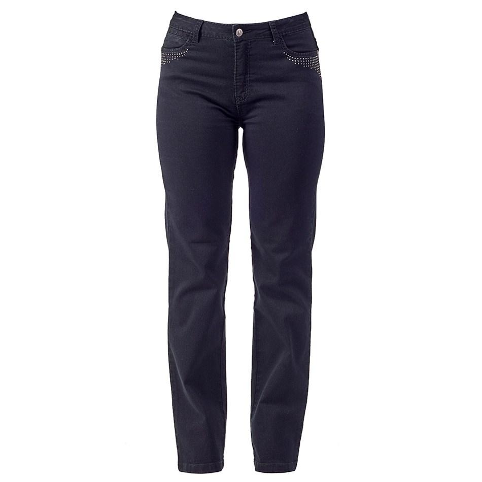 Vassalli Straight Leg Jean With Crystals -