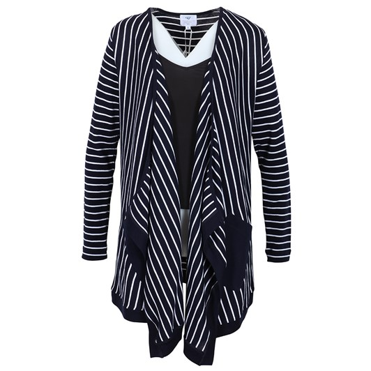B Merino Stripe Cardigan With Plain Trim