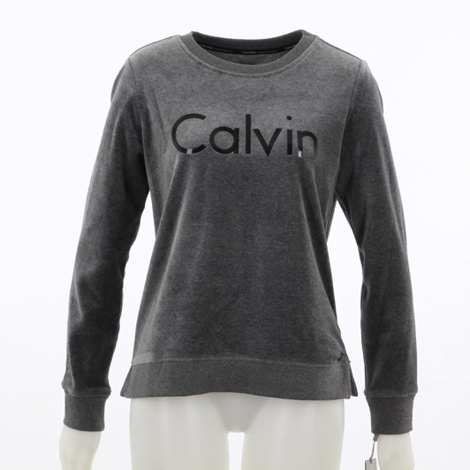 Calvin Klein Performance Lacquer Logo Vellour LS Pullover