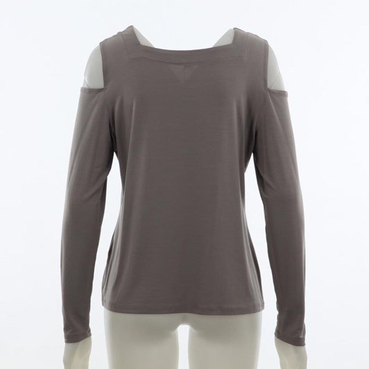 Paula Ryan Sf Ls Cutaway Square Neck Top
