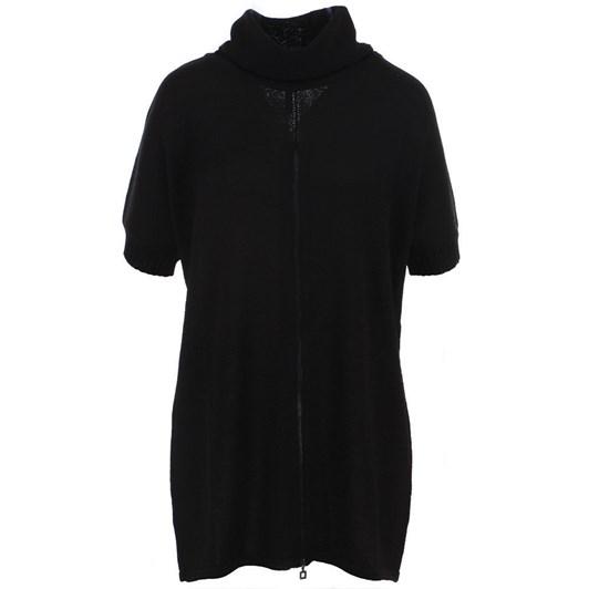Sarah Pacini Easy Mock Zip Sweater