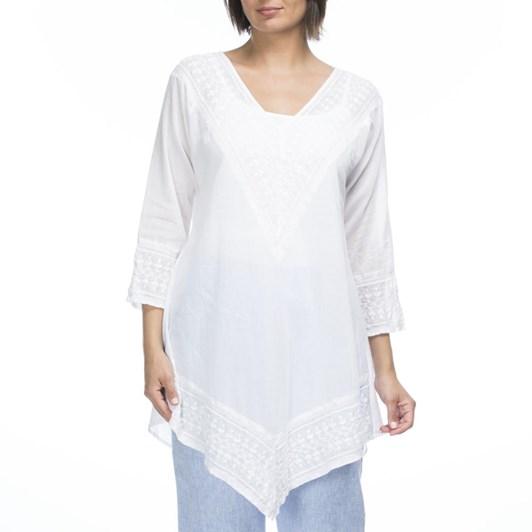 Hammock & Vine Embroidered Cotton V Neck Tunic