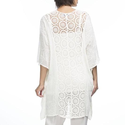 Hammock & Vine Lace Front Embroidered Kaftan Top