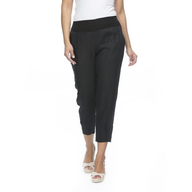 Gordon Smith Jersey Waist Linen Pant - black