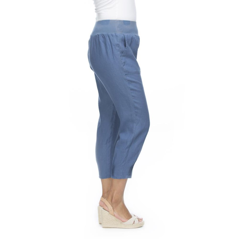 Gordon Smith Jersey Waist Linen Pant - blue