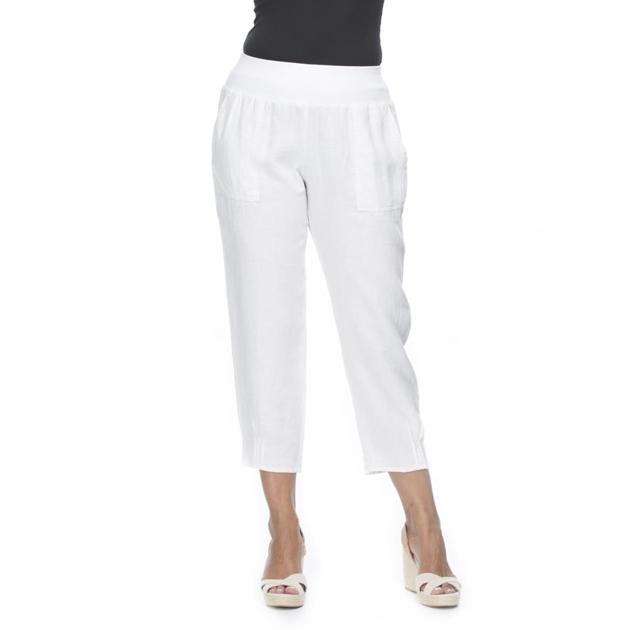 Gordon Smith Jersey Waist Linen Pant - white