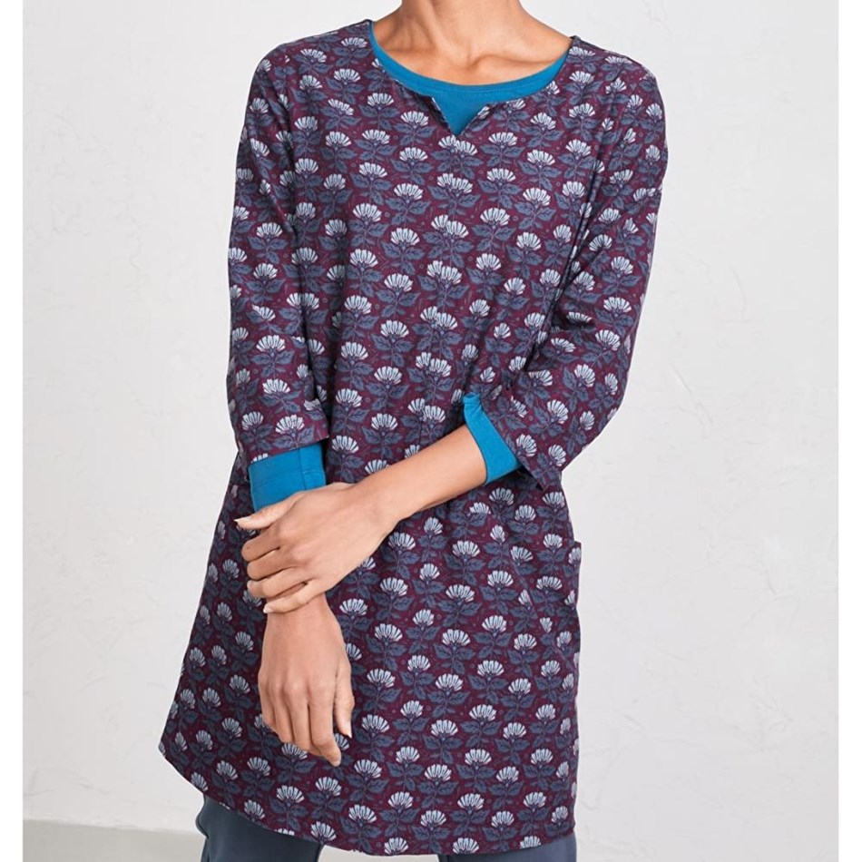 Seasalt Wassail Tunic Climbing Flowers Compote - purp003955