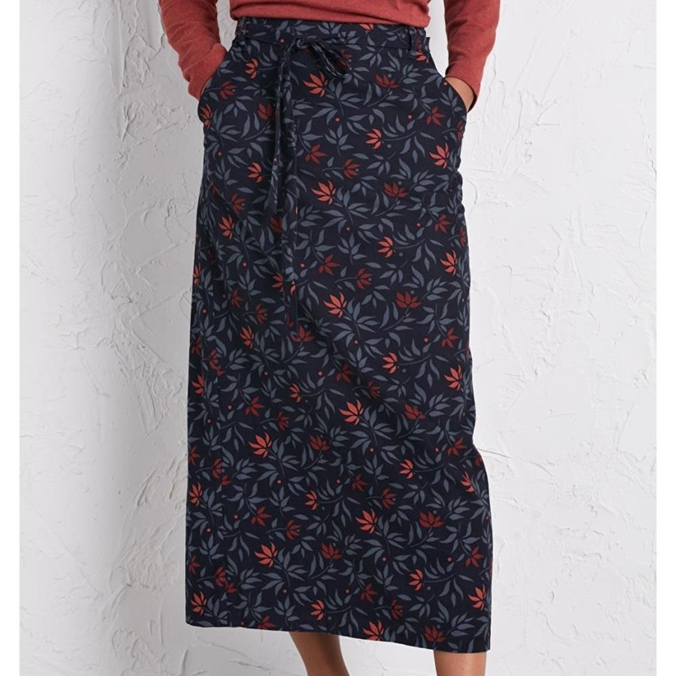 Seasalt Inscription Skirt Ink Pen Flowers Dark Night - navy004006