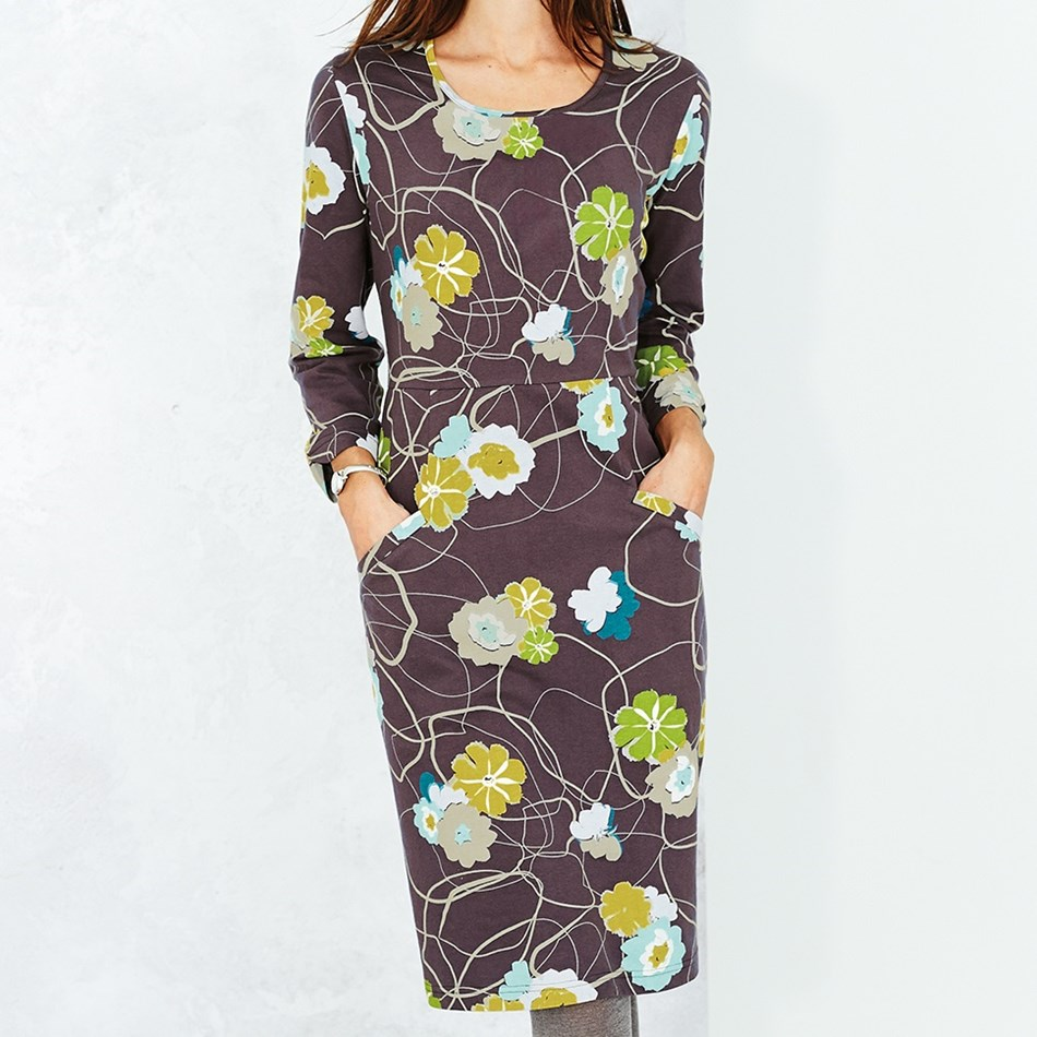 Adini Tonette Dress Belleflower Print - scandi grey