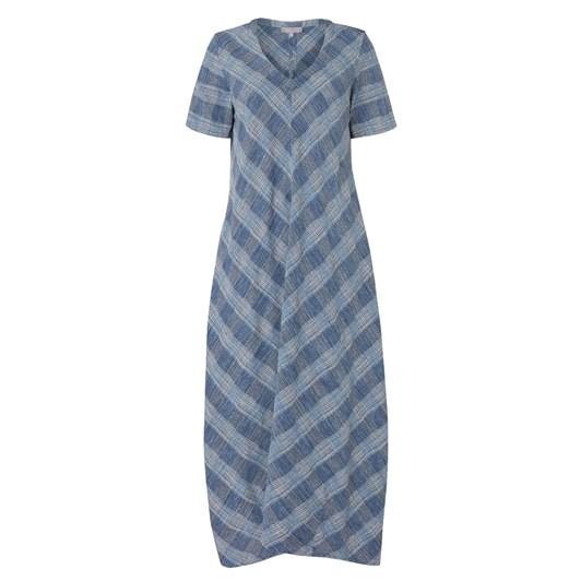 Sahara London Chambray Cotton Check Dress