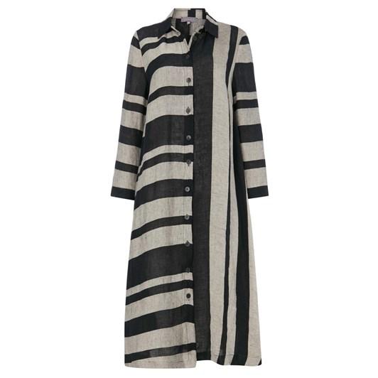Sahara London Linen Stripe Shirt Dress