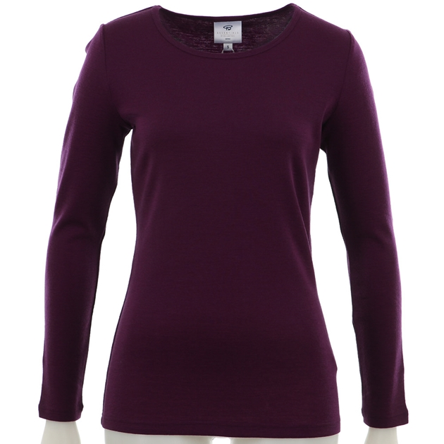 B Merino Crew Neck - wineberry