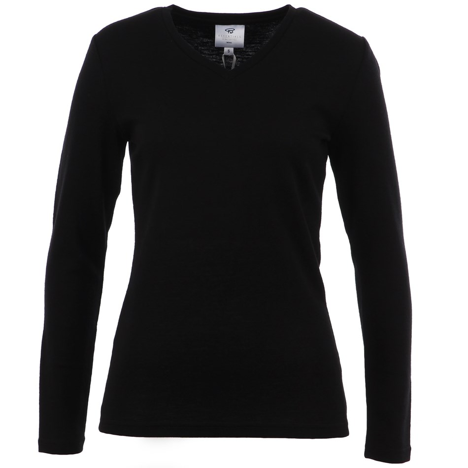 B Merino V Neck - black