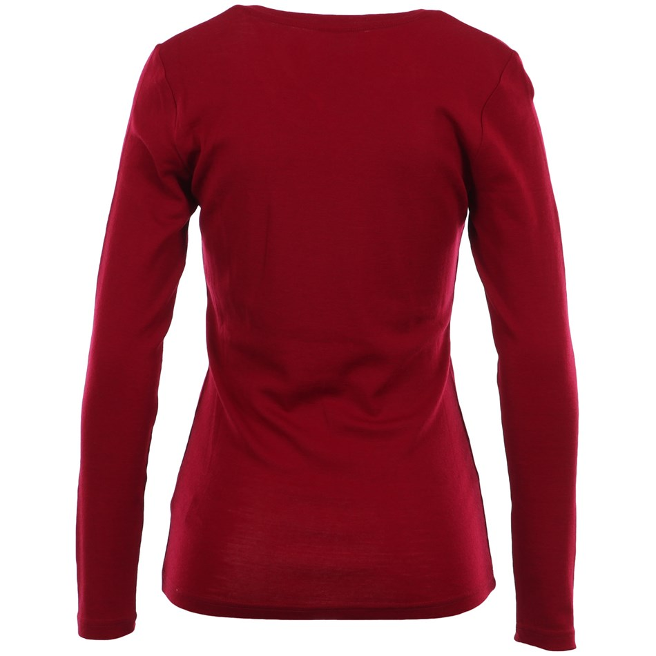 B Merino V Neck - red plum