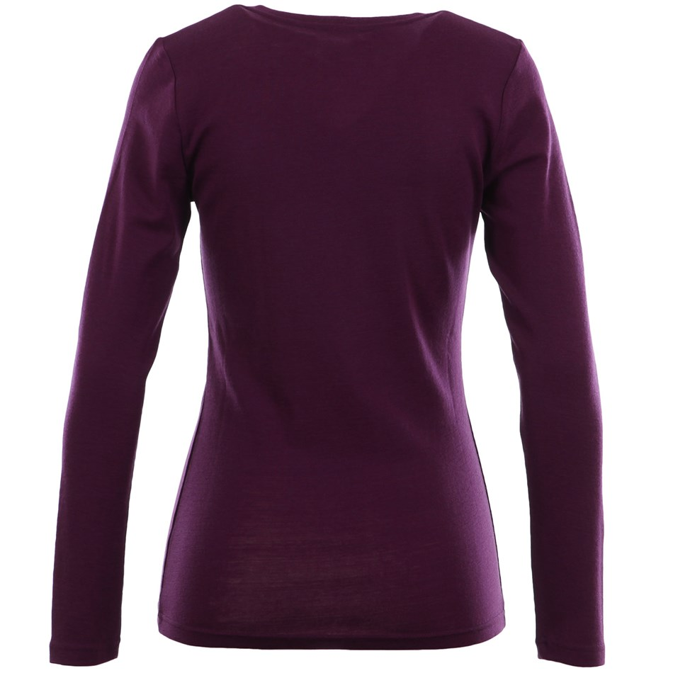 B Merino V Neck - wineberry