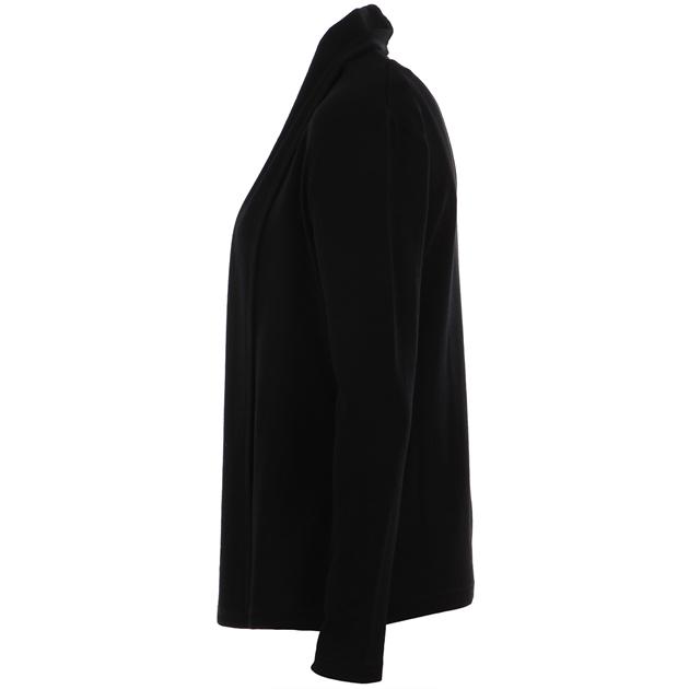 B Merino Drape Front Cardigan with Pockets - black