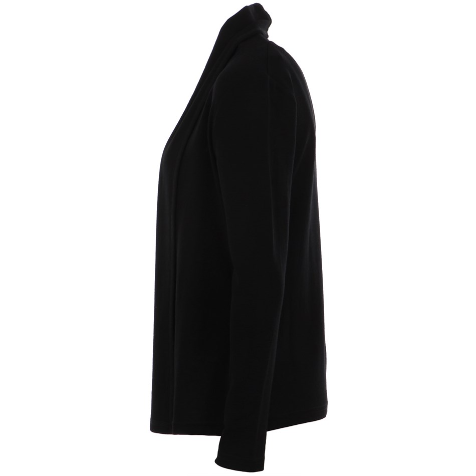 B Merino Drape Front Cardigan with Pockets - black