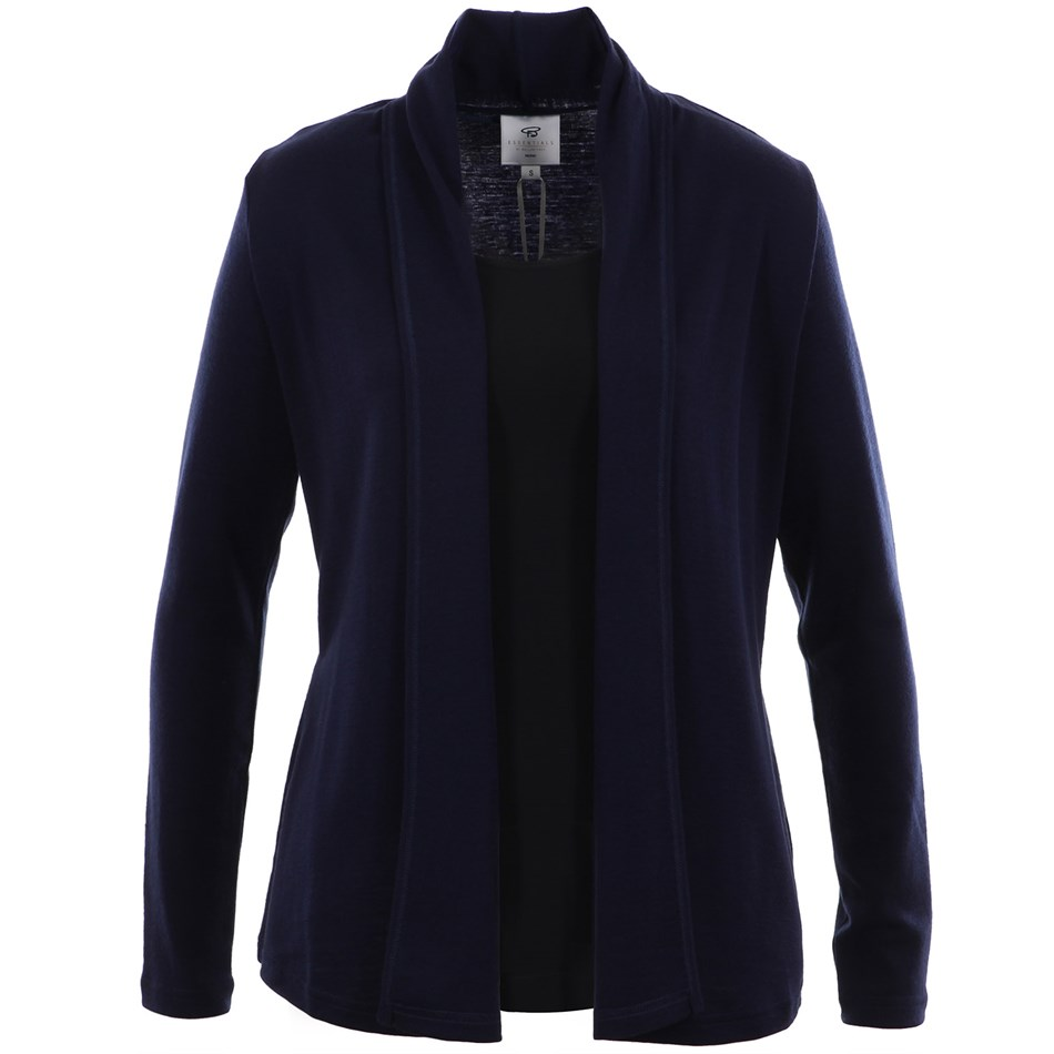 B Merino Drape Front Cardigan with Pockets - india ink