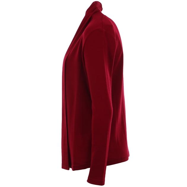 B Merino Drape Front Cardigan with Pockets - red plum