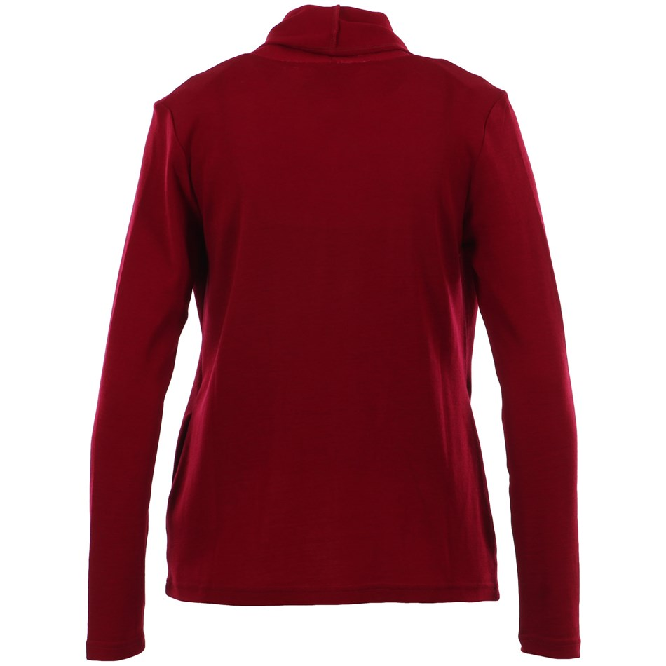 B Merino Drape Front Cardigan with Pockets - red plum