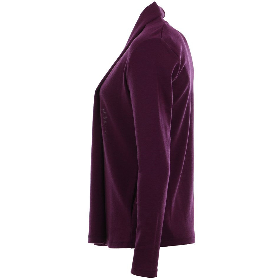 B Merino Drape Front Cardigan with Pockets - wineberry