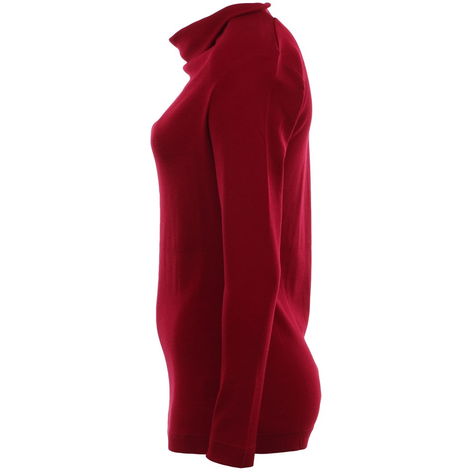 B Merino Top Basic Cowl - red plum